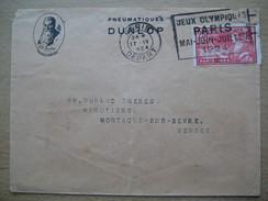 France Pmk 1924-04-17 Mecanique Postmark Jeux Olympiques Paris Mai Juin Juillet Scarce On Dunlop Cover With Stamp