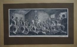 Le Camp De Prisonnier De Guerre De Mailly - Juillet 1940 Gravure Sur Bois De Charles FAVET Tirée à 200 Exemplaires - Estampes & Gravures