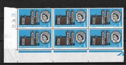 GB 1966 QEII Westminster Abbey 3d MNH Corner Block Of 6 (4853) - Blocks & Miniature Sheets