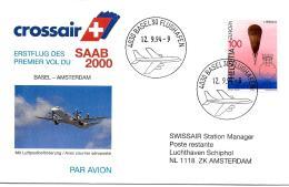 28530 - Enveloppe 1er Vol Crossair Basel-Amsterdam 1994 SAAB 2000 - Avions