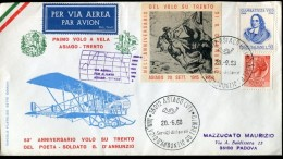 15945 Italia, Special Cover And Postmark 1968 Asiago,anniversary Of The Flight Of D'annunzio Up Trento, - Flugzeuge
