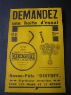 """Ancien Carton Publicitaire  Original Savon-Pâte """"DIRTOFF"""" - Dégraisseur Pour Les Mains & Le Ménage - Targhe Di Cartone"""