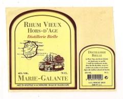 Etiquette  Rhum Vieux Hors D'âge - Distillerie Bielle , Grand Bourg - Marie-Galante -  GUADELOUPE - - Rhum