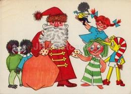 New Year Greeting Card By S. Kalev - Santa Claus - Buratino - Monkeys - Pippi Longstocking - 1973 - Estonia USSR - Used - Anno Nuovo