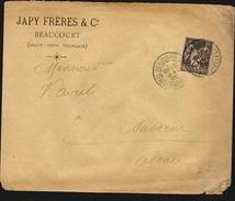 Frankreich Sage Type II Yvert No 97 Einzelfrankatur Auf Brief Von Beaucourt 18.5.1900 Nach Saverne - 2 Scans - 1876-1898 Sage (Type II)