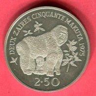 § 2;50 GORILLE  ( KM 9) TTB+ 42 - Zaïre (1971-97)