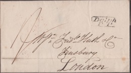 """1828 Wrapper To """"Frederick Huth & Co, Finsbury, London"""" From """"Edwd Kenworthy"""", With A Good, Boxed 'Delph / P P' Pmk - Postmark Collection"""