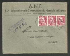 Recommandée Provisoire CRESPIN - NORD 22.06.1946 / Enveloppe Commerciale Concordante 9F Marianne De Gandon - Marcophilie (Lettres)