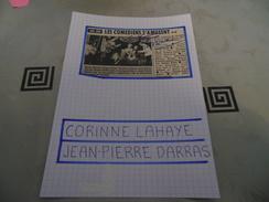AUTOGRAPHE DÉDICACÉ ET AUTHENTIQUE DE CORINNE LAHAIE & JEAN-PIERRE DARRAS SUR COUPURE DE PRESSE COLLÉ SUR CARTON BRISTOL - Autographes