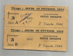 CARNET DE LA LOTERIE NATIONALE COMPLET 1944(20 TICKETS) - Lottery Tickets