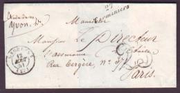EURE & LOIR - LSC - Cursive 27 Terminiers + T15 Orgères + Taxe DT 25 Pour Paris (60) - Marcophilie (Lettres)