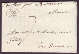 """FINISTERE - LAC -  """"Du Faou Par Landerneau"""" Manuscrit L2 (SD) + Taxe 7 Pour Rennes (34) - Marcophilie (Lettres)"""