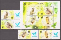 Iran 2011 Mi 3247-3250 + Block 59(3251-3254) WWF. Worldwide Conservation: Owls / Weltweiter Naturschutz: Eulen **/MNH - Uilen