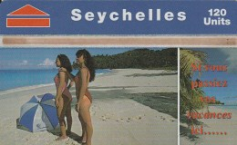 Seychelles - Beach Scene With Girls - 708A
