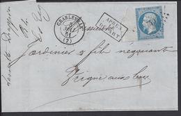"""FR - 1861 - N° 14 Sur Pli  De Charleville à Destination De Vrigne-Aux-Bois - Cachet """" Après Le Départ """" - 4 SCANS - - 1853-1860 Napoléon III"""