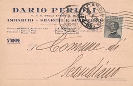 LA SPEZIA - CARTOLINA COMMERCIALE DARIO PERIOLI SPEDIZIONI NAVALI - VG 1929 - La Spezia