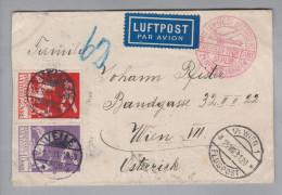 Dänemark 1931-08-24 Veile Luftpostbrief Nach Wien über Berlin Mit Mi#144/5 Frankiert - 1913-47 (Christian X)