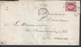 FR - 1861 - Timbre N° 17 A Oblitération Losange Lettre N.P. Sur Pli De Nantes  Vers Rouen - 4 SCANS - - 1862 Napoleon III