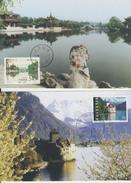 2 Cartes-Maximum  Emission Conjointe Chine-Suisse / Le Lac D'Ouest-Pont24 à Yangzhou / Lac Léman-Château De Chillon - Chine