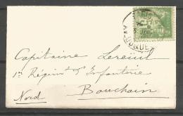 France - F1/193 - Type Sage - N°102 Sur Enveloppe De Paris à Bouchain - 1898-1900 Sage (Type III)