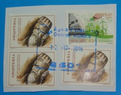 2016 ALBANIA STAMPS USED, EUROPA THINK GREEN, 250 YEARS FROM BIRTH OF ALI PASH TEPELENA, POSTMARK KUKES. - Albania