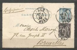 France - F1/197 - Type Sage - N°90CP2 + 103 Carte Lettre De LILLE Vers BRUXELLES Du 8/10/99 - 1898-1900 Sage (Type III)
