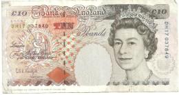 Billet 10 POUNDS Grande-Bretagne 1993 Alphabet DH17 Charles Dickens Au Verso - 1952-… : Elizabeth II