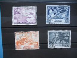 Singapour  UPU 1949  N° 23 à 26 Oblitéré TTB - Singapour (1959-...)