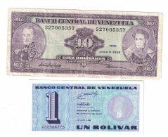 Lot Of 2 Banknotes Currency, Venezuela #61d 10 Bolivares 1995, #68 1 Bolivar 1989 Issue - Venezuela