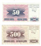Bosnia & Herzegovina Lot Of 2 Banknotes Currency #12 50 Dinara 1992 And #14 500 Dinara 1992  Issues - Bosnia And Herzegovina