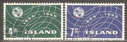 Iceland 1965 Mi# 390-391 Used - ITU, Centenary - 1944-... Republik
