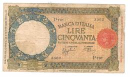 ITALY 50 LIRE, 1942, Used, See Scan. Free Economic Ship. To USA - [ 1] …-1946 : Koninkrijk