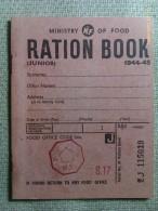 Libro De Racionamiento. Junior. 1944-1945. Ministry Of Food. Reino Unido. II Guerra Mundial. Reproducción - 1939-45