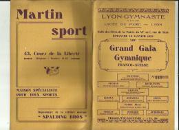 LYON _GYMNASTE  S A G _VIIIe Grand Gala Gymnique FRANCO_SUISSE _11 CHAMPIONS SELECTIONNE_Le 18 Janvier1931 - Gymnastique