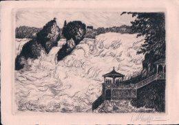 Rheinfall M. Fischetz, Original- Radierung, Handabzug (321) - SH Schaffhouse