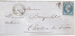 ST LEGER SUR D'HEUNE Pour CHALON/SAONE_n°29A_oblitéré GC 3718 + Cachet T15_1863 + Boîte Rurale F = ST Bérain-Charost - Poststempel (Briefe)