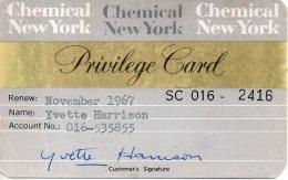 Privilege Card - Chemical New York - 1967 - Tarjetas De Visita