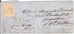 BUXY Pour ST VALLERIN_ Tarif Local_n°55_oblitéré GC682 + Cachet T17_1872_cachet Faible - Poststempel (Briefe)