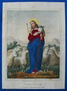 Grande IMAGE PIEUSE A L' Aquateinte (29 Cm X 21 Cm) Llanta Litho Bouasse-Lebel Pl 1 JESUS BON PASTEUR SANTINO HOLY CARD - Images Religieuses