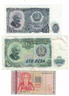 Bulgaria Lot Of 3 Banknotes Currency, #85 25 Leva 1951, #86 100 Leva 1951, #114 1 Leva 1999 Issue - Bulgaria