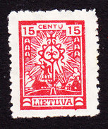 Lithuania, Scott #166, Mint Hinged, Cross, Issued 1923 - Lithuania