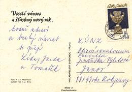 L1643 - Czechoslovakia (1977) 432 01 Kadan 1 (postcard); Tariff: 30h (stamp: Art Gallery Karlovy Vary - Vase)