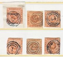 DENMARK  4  (o)    PLATE  STUDY  GROUP - 1851-63 (Frederik VII)