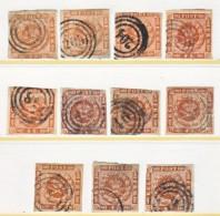 DENMARK  7  (o)   PLATE  STUDY  GROUP - 1851-63 (Frederik VII)