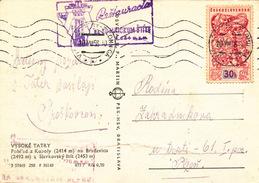 L1691 - Czechoslovakia (1958) Vysoke Tatry - T. Lomnica (postcard: High Tatra Mountains) 30 H (stamp: Bruxelles 1958)
