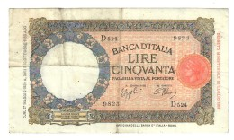 50 LIRE LUPA CAPITOLINA FASCIO ROMA 27 05 1939 BEL BIGLIETTO Naturale LOTTO 1542 - [ 1] …-1946 : Regno