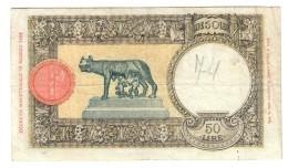 50 LIRE LUPA CAPITOLINA FASCIO II° TIPO ROMA 24 01 1942 BEL BIGLIETTO Naturale LOTTO 1195 - [ 1] …-1946 : Regno