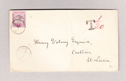 GB Leeward Islands DOMINICA 28.7.1897 Taxierter Brief Nach Santa Lucia - Leeward  Islands
