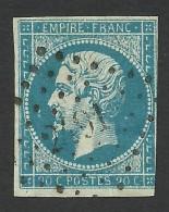 France, 20 C. 1854, Sc # 15, Mi # 13Ia, Used - 1853-1860 Napoleon III