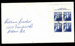 CANADA  1956 - Yvert 288 (quartina Angolo) - Fauna Selvaggia